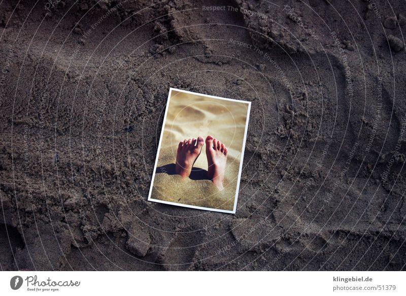 "Postcard with feet in the sand at the sandy beach Vacation & Travel Summer Summer vacation Sun Beach Ocean Sand Water Card ""Sandy beach Baltic Sea Colour photo"