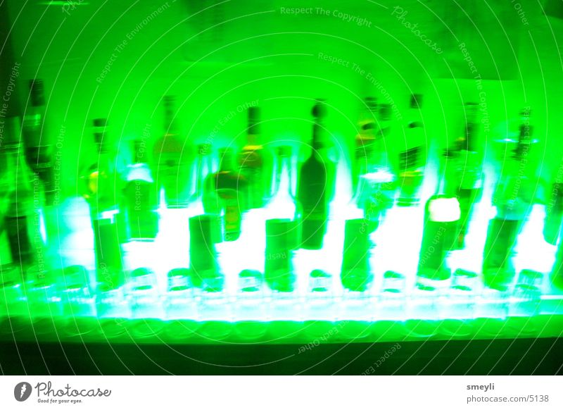 green instead of blue Beverage Bar Disco Gastronomy Spirits Liquer Photographic technology Bottle Roadhouse