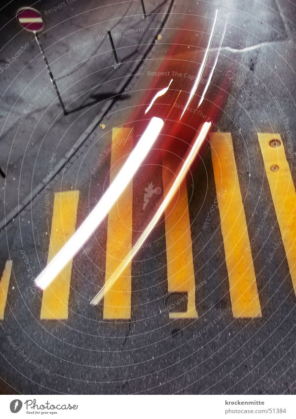 City Red Yellow Street Gray Car Line Transport Speed Floodlight Curbside Road sign Traverse Zebra crossing One-way street Light streak
