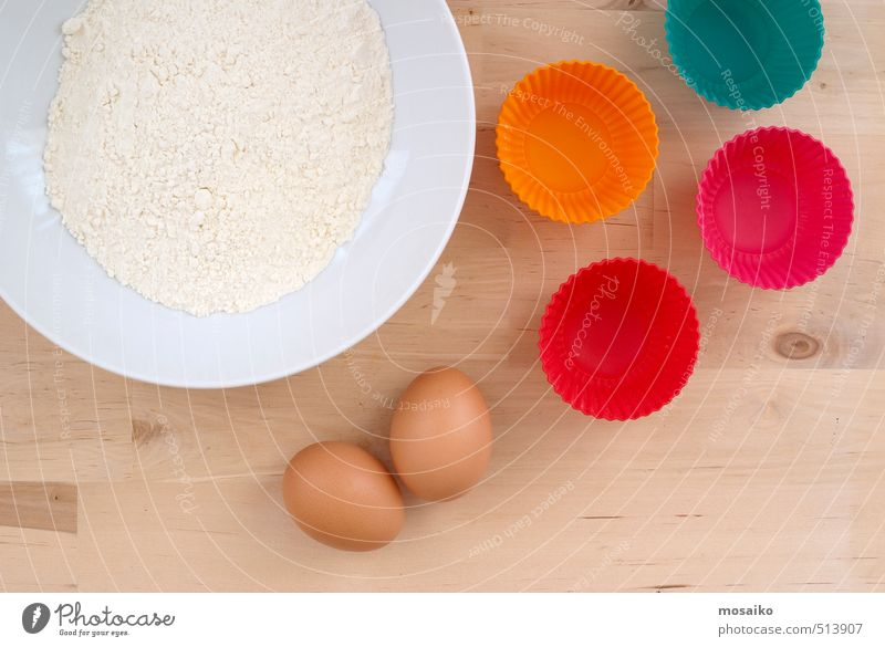 Baking Muffins - close up of flour, eggs and muffin forms Eating Funny Feasts & Celebrations Food Birthday Creativity Delicious Candy Cake Dessert Ingredients