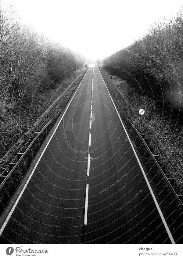 Endless road Black White Infinity Transport Street Line Lanes & trails Highway