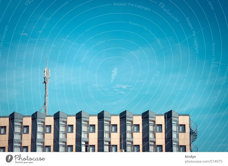 Sky Blue City House (Residential Structure) Building Gray Living or residing Modern Beautiful weather Esthetic Clean Partially visible Blue sky Antenna