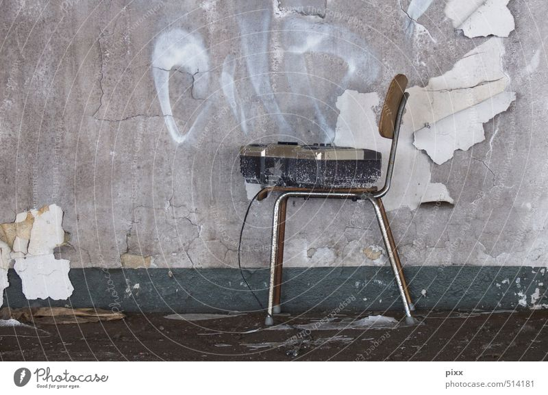 ut ruhrgebiet | sit down and listen Redecorate Furniture Chair Wallpaper Construction site Closing time Radio (device) Entertainment electronics Subculture