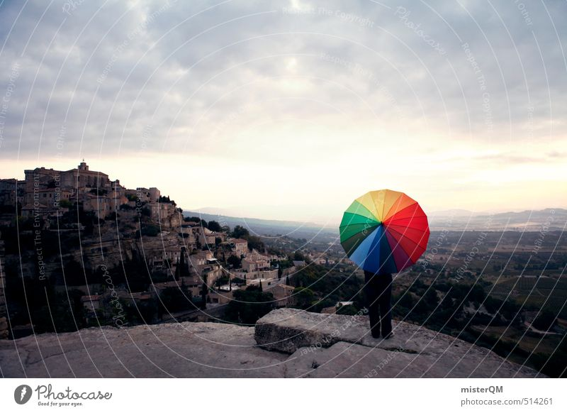 French Style XVII Art Esthetic Contentment Umbrella Umbrellas & Shades Wanderlust Gordes France Multicoloured Patch of colour Travel photography