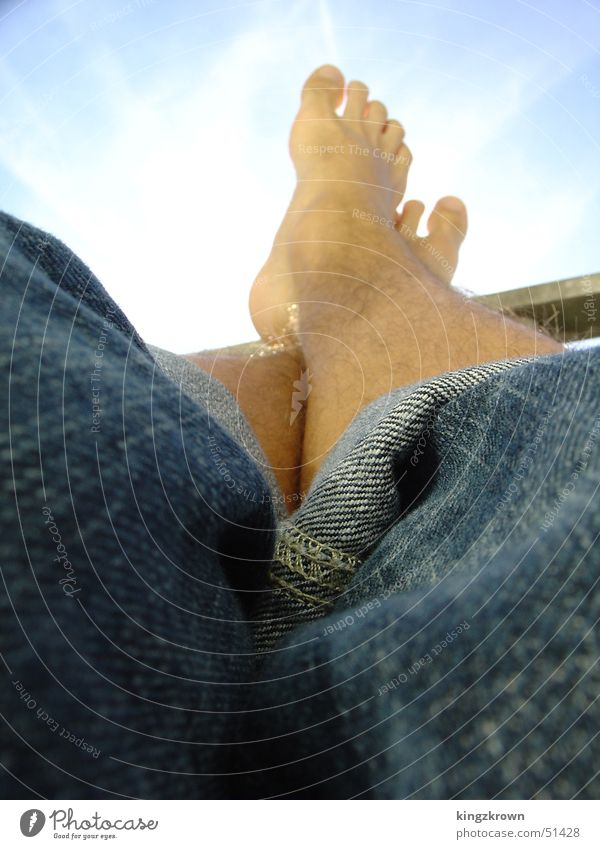 Sky Sun Blue Vacation & Travel Calm Relaxation Hair and hairstyles Feet Jeans Men's leg Roll up Feet up