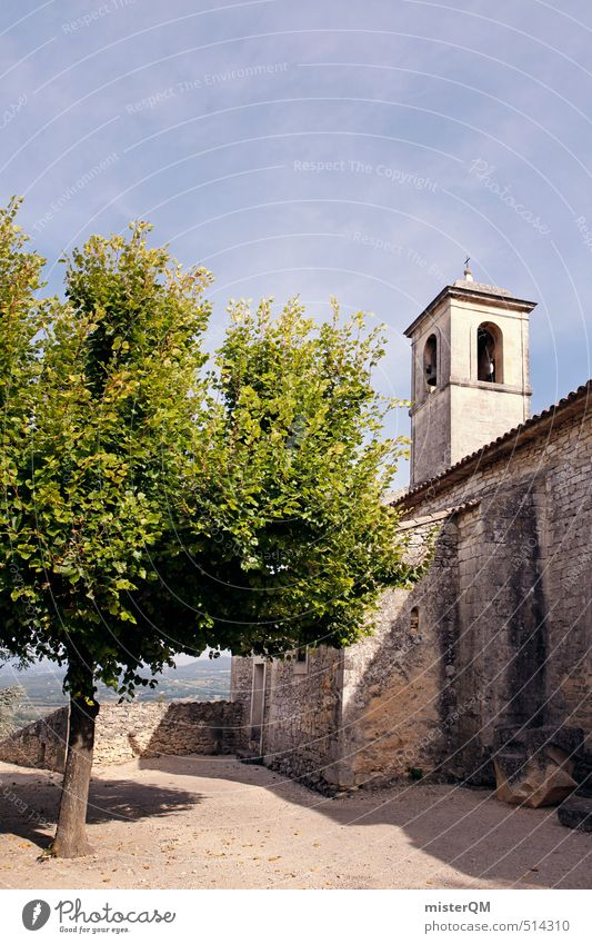 City Tree House (Residential Structure) Wall (barrier) Religion and faith Esthetic Church Tower Castle Village Summer vacation France Downtown Ruin Summery Town