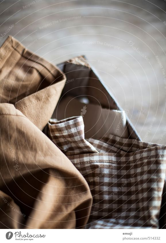 substance Profession Packaging Decoration Cloth Cloth pattern Soft Brown Stitching Checkered Colour photo Subdued colour Interior shot Close-up Deserted