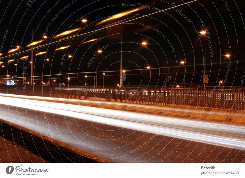streak Long exposure Night Dark Brown Duesseldorf Bridge Light Tracks Evening