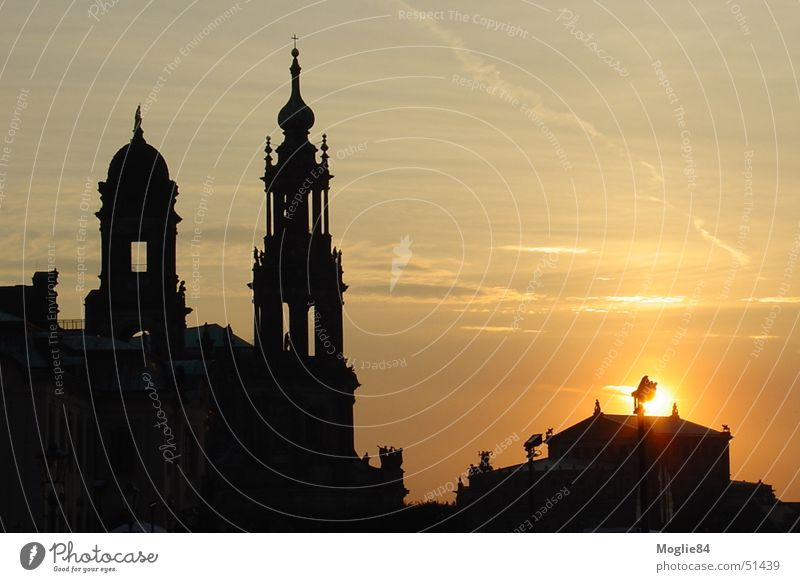 Dresden at sunset Colour photo Deserted Evening Twilight Sunrise Sunset Long shot Germany Europe Town Old town Skyline Church Dome Castle Looking