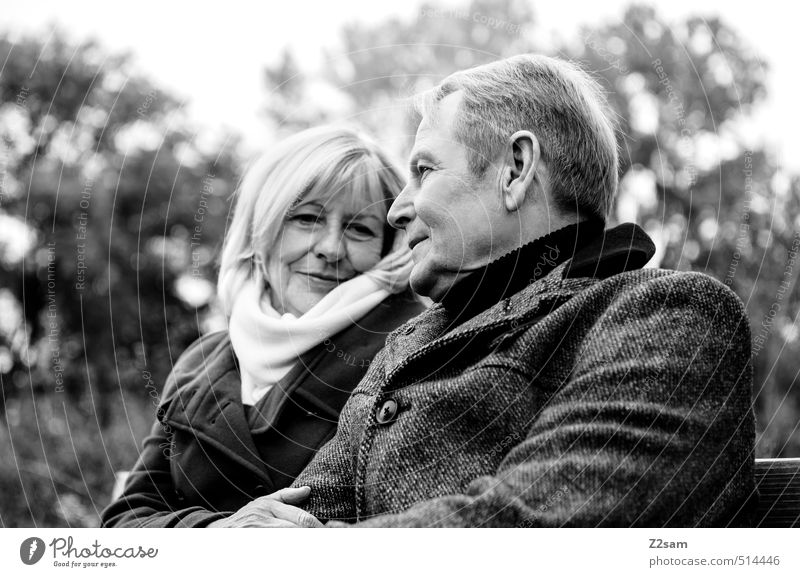 Human being Woman Man Tree Relaxation Adults Love Senior citizen Autumn Happy Together Blonde Contentment Sit Lifestyle Bushes