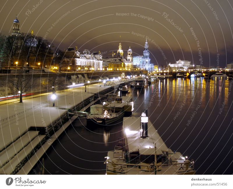 the bridge Dresden Night Light Statue Building House (Residential Structure) Places Elbufer Historic Snow Religion and faith Elbe Skyline Coast Romance Winter