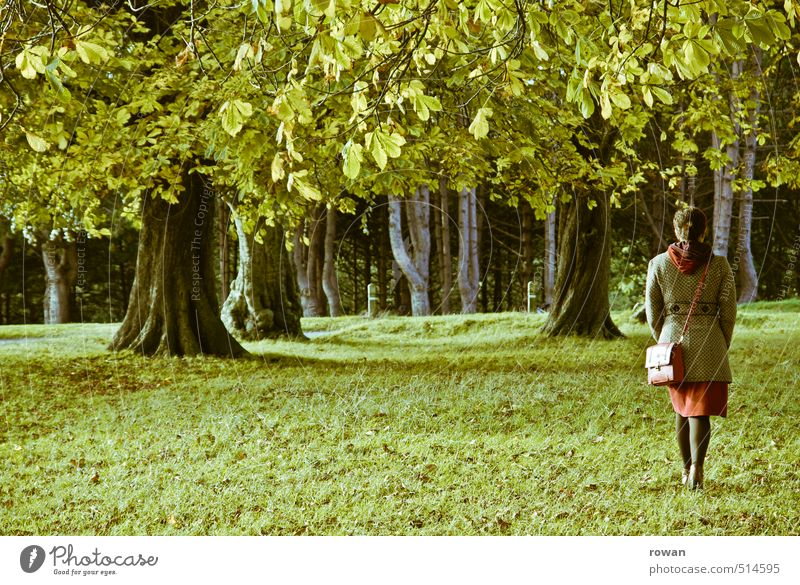 stroll Human being Feminine Woman Adults 1 Going Leaf Leaf canopy Tree Dress Skirt Green Grass Meadow To go for a walk Park Relaxation Nature Air Colour photo