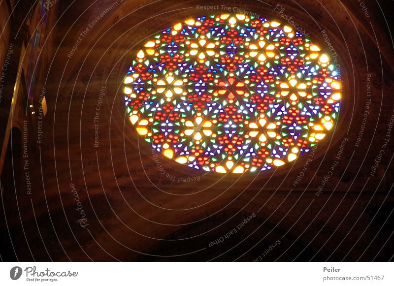 Light in Darkness IV Window Black Glow Church window Tiffany lamp Glass Religion and faith Beam of light Colour Multicoloured Lamp Lighting Reflection
