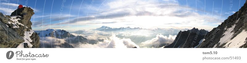 bivouac box Clouds Bivouac Mountaineering Hiking Panorama (View) Mountain range Horizon Rock mount blanc Climbing Snow Sky Sun Alps Blue Large Panorama (Format)