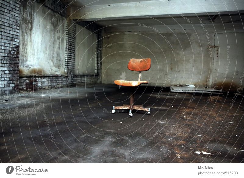 Old Dark Wall (building) Wall (barrier) Building Dirty Room Gloomy Perspective Change Construction site Chair Factory Decline Seating Ruin
