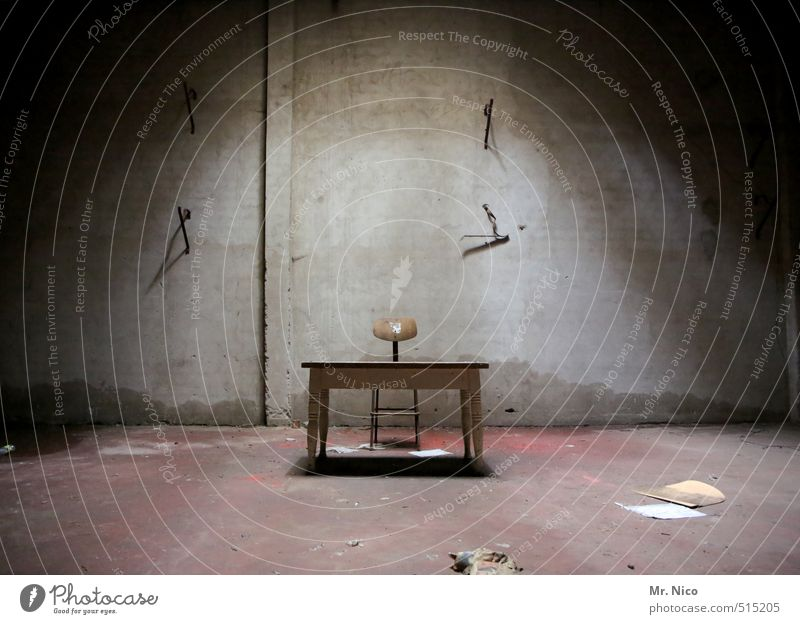 ut ruhrgebiet   interrogation room Desk Chair Table Attic Dark Creepy Cold Questioning Concrete wall Cellar Furniture Comfortless Alarming Dirty Loneliness
