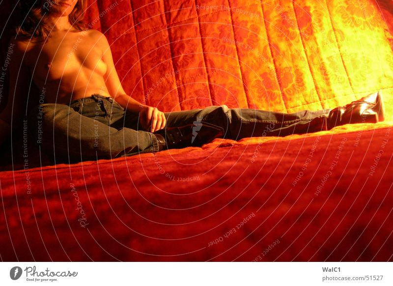In the heat of the night Woman Naked Boots Leather Red Black Calm Relaxation Night Light Lady Breasts Jeans Orange Blanket