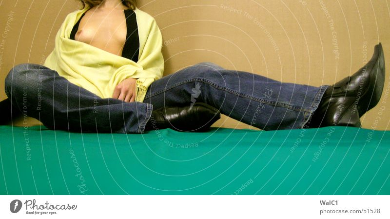 Woman Green Black Yellow Relaxation Eroticism Naked Legs Sit Break Jeans Breasts Long Lady Boots Paper