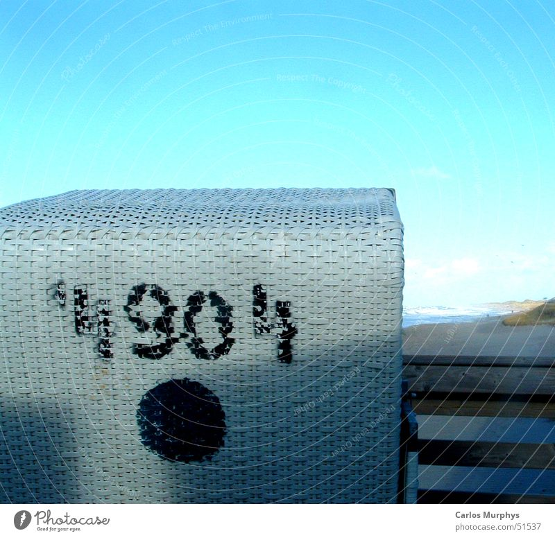 Beach Chair No. 4904 Beach chair Empty White Black Digits and numbers Summer Jump Sylt Westerland Coast Vacation & Travel Leisure and hobbies Trip Sky Blue