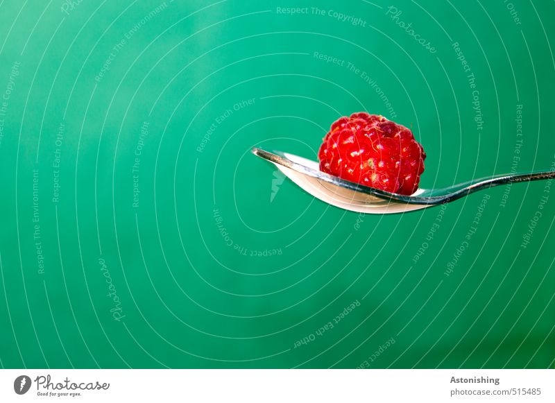 1 Food Raspberry Nutrition Eating Cutlery Spoon Metal Hang Lie Healthy Delicious Green Red Silver White Background picture Glittering Wait Colour photo
