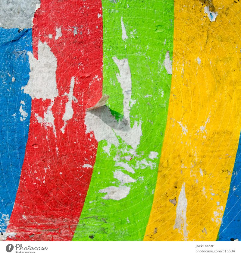 Colourful-wonderful Design Subculture Decoration Stripe Happiness Inspiration Paper Surface Broken Curved Scrap Intensive Street art Plastered Abrasion