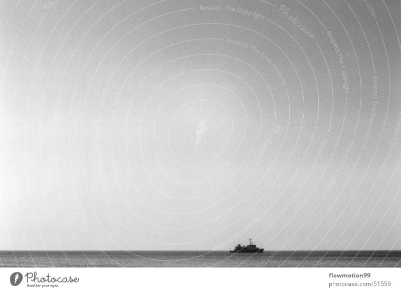 ahoy Watercraft Ocean Lake Waves Loneliness Captain Seaman High sea Sky Empty Wind Deep Sun Black & white photo Germany North Sea