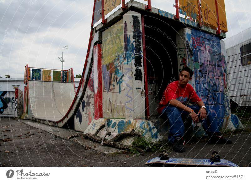 I have a dream . . . Halfpipe Broken Man Calm Skateboarding Dirty Graffiti Bright external portrait snazz