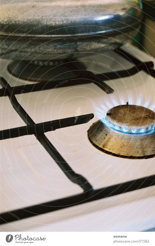 gas stove Stove & Oven Hot water bag Grating White Cold Cooking Kitchen Physics Flame Blue Metal Blaze Old Gas Warmth
