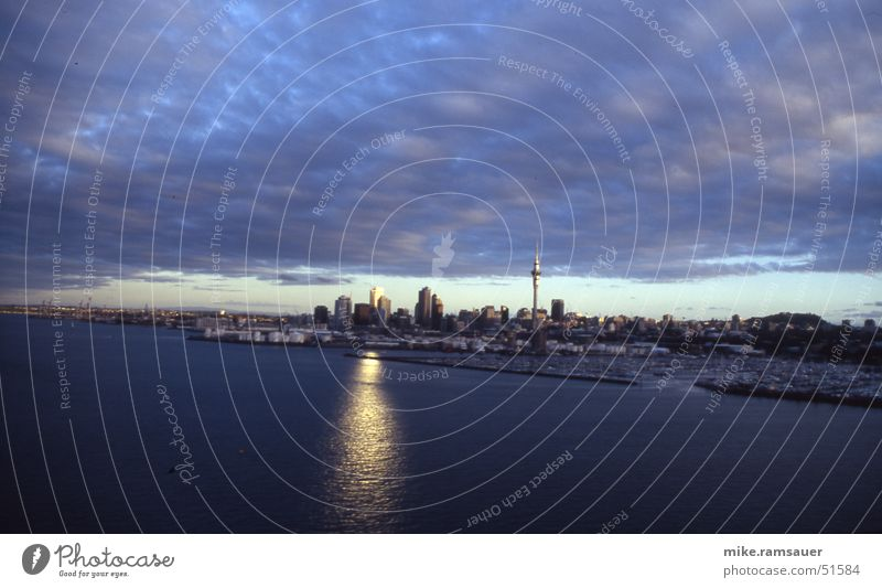 Auckland Skyline New Zealand Sky Tower Dark Twilight Clouds Town Australia + Oceania Watercraft Reflection Sun Harbour
