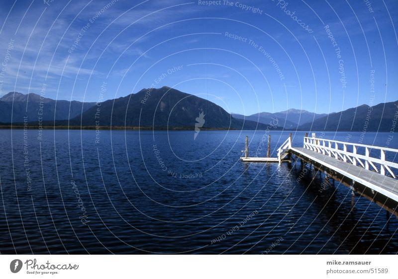 Sky White Blue Lake Large Vantage point Footbridge New Zealand Mountain lake