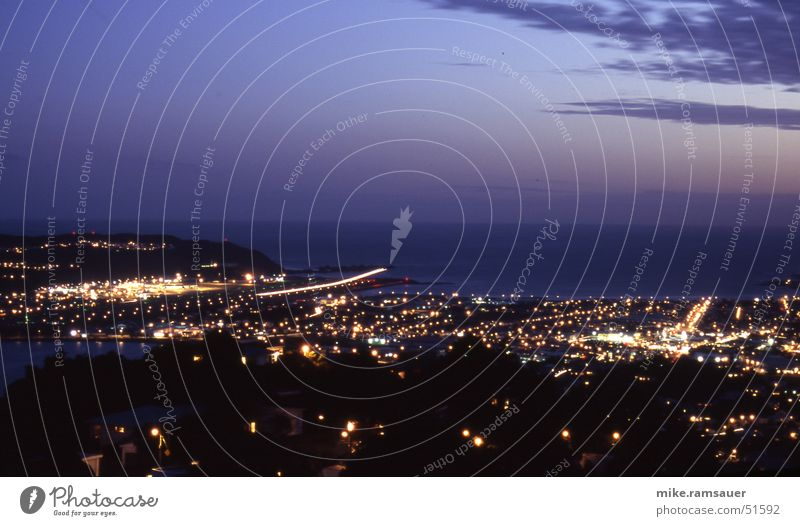 Movement Air Line Airplane Airport Airplane landing Exposure New Zealand Night shot Wellington