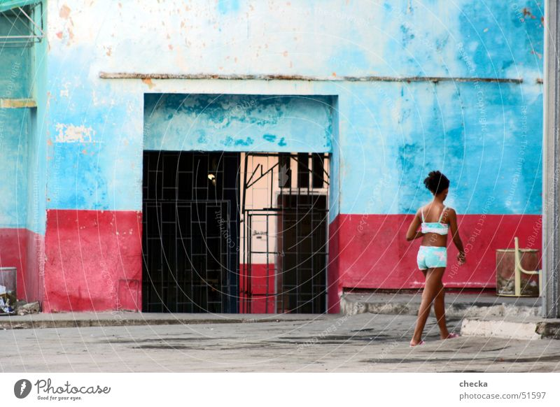 Girl Blue Red South America Facade Farm Cuba House (Residential Structure) Backyard Striped South American