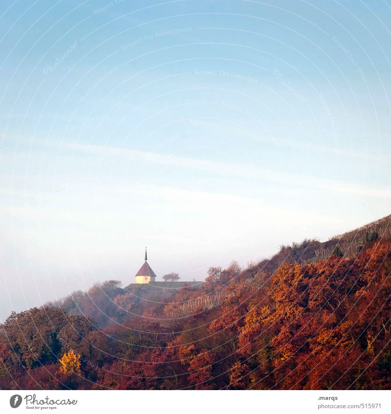 chapel Nature Landscape Plant Sky Autumn Climate Beautiful weather Fog Forest Hill Building Chapel Simple Fresh Blue Orange Red Moody Religion and faith