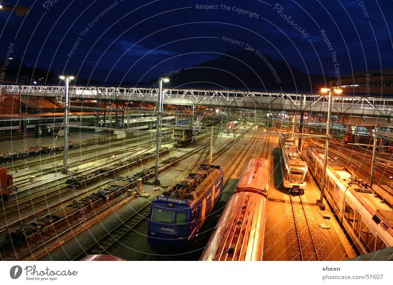 trainees Night Railroad Exposure Long exposure Traffic light Train station Colour tracks