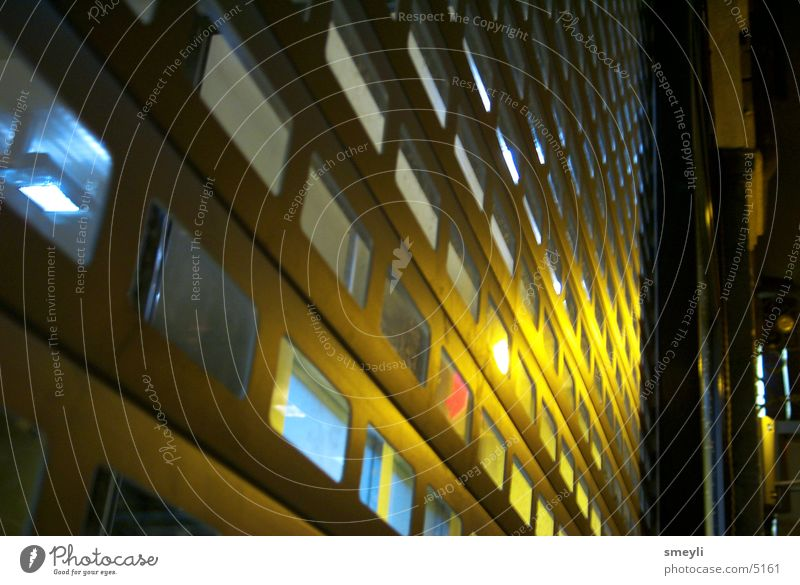 behind bars Grating Night Yellow Light Barrier Photographic technology Metal Blue Light (Natural Phenomenon)