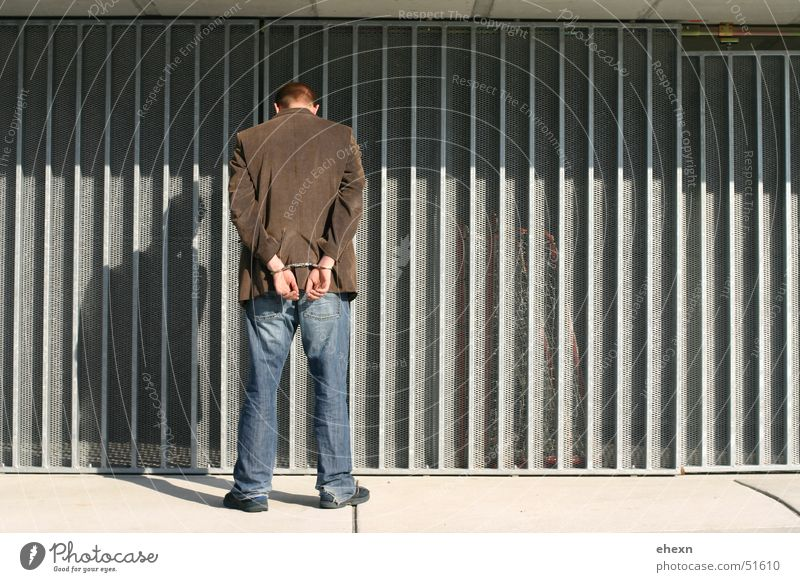 Man Bright Back Thief Criminality Handcuff Corrugated sheet iron