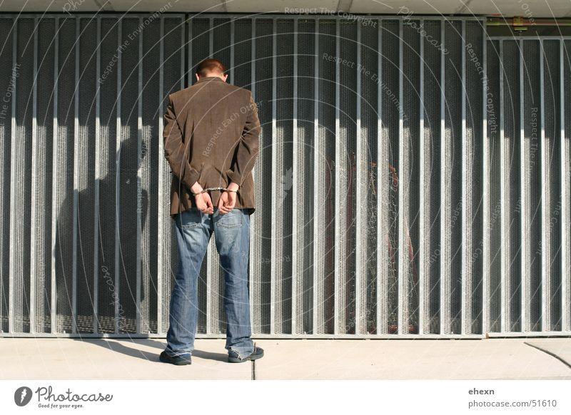 Man Bright Back Thief Criminality Criminal Handcuff Corrugated sheet iron
