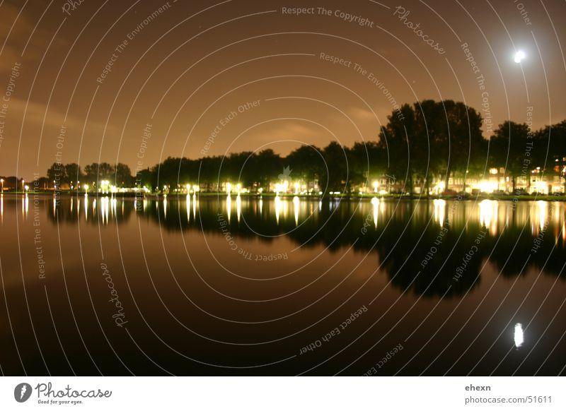 Mirror Amsterdam Night Long exposure Exposure Lamp Moon Water lights Street Silhouette Evening