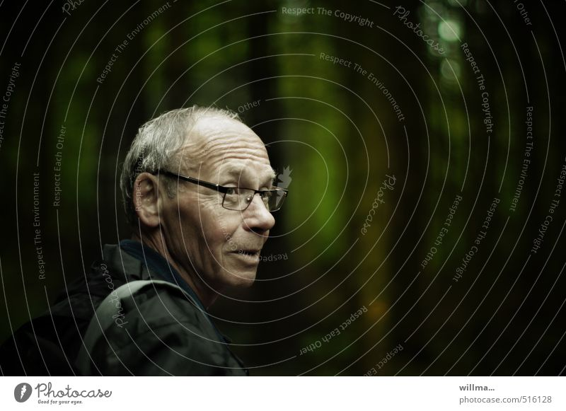 Portrait of an older man in the forest Man Male senior Grandfather Senior citizen Head Wrinkle Human being Forest Rain jacket Eyeglasses Gray-haired conceit