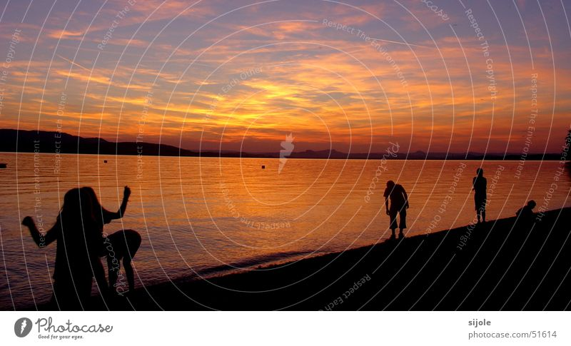 Sky Red Beach Clouds Yellow Lake Orange Horizon Dusk Lake Constance
