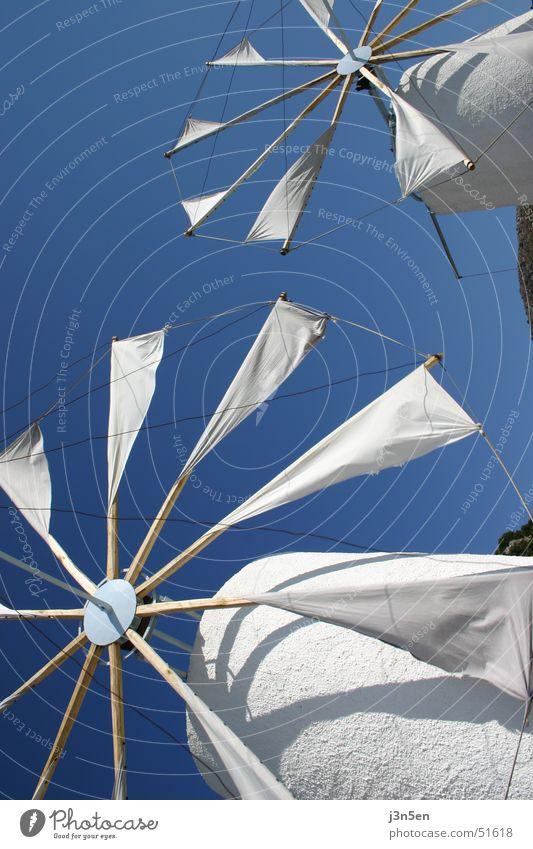 Sky White Blue Greece Rag Windmill Mill Crete