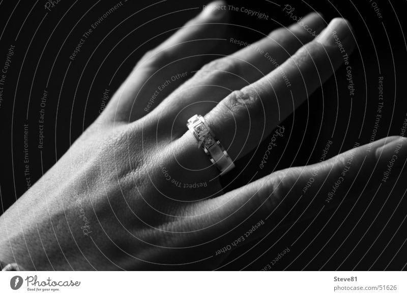 The Ring Fingers Black White Hand Woman Accessory Jewellery Circle Black & white photo