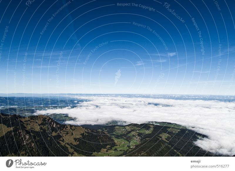 it's getting closer Environment Nature Landscape Earth Sky Cloudless sky Autumn Beautiful weather Fog Natural Blue Sea of fog Switzerland Colour photo