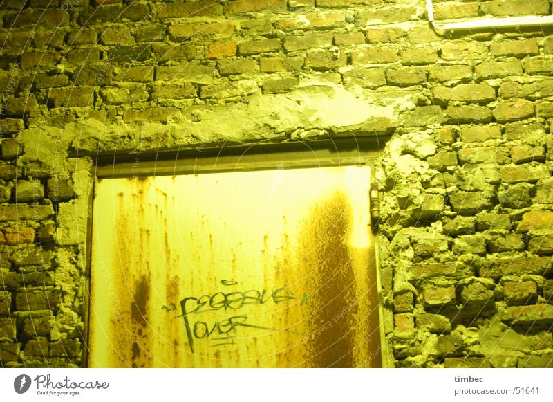 door Light Wall (barrier) Dark Night Illuminate Smeared Exterior shot Cold Loneliness Backyard hazy Old damaged scribbled Painting (action, work) Shabby Detail