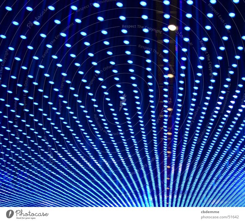 Blue illuminated ceiling Lamp Infinity Pattern Light Structures and shapes Technology compaction Perspective