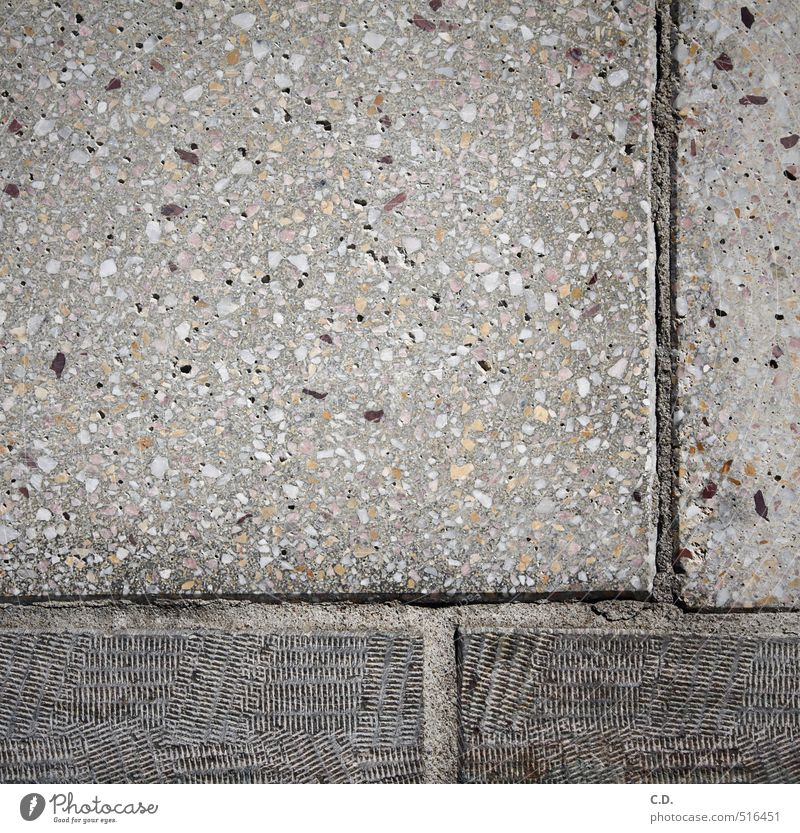 composition Stone Concrete Sharp-edged Gloomy Gray Art Sidewalk Composing Rectangle Insulation Colour photo Exterior shot Deserted Day