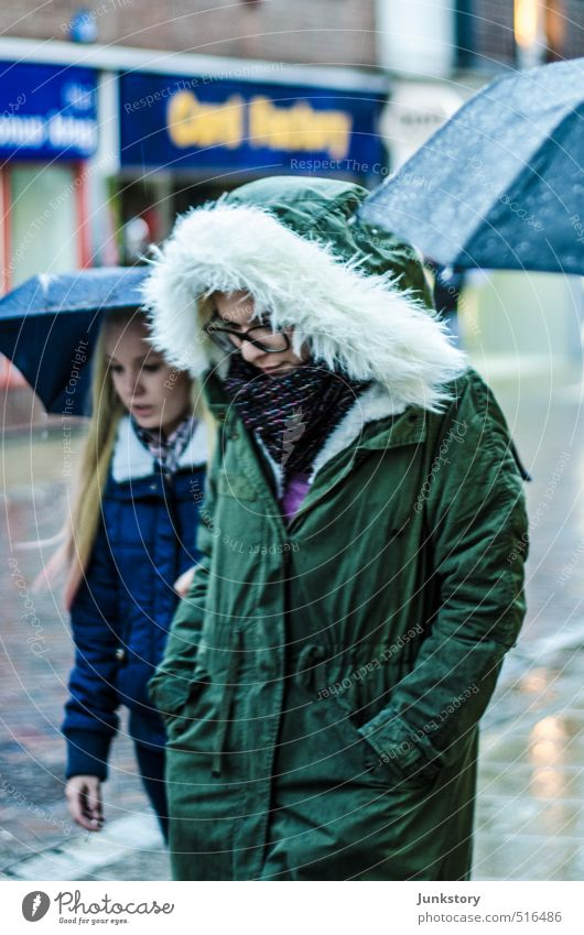 SHE! PARKA! Human being Feminine Young woman Youth (Young adults) Woman Adults Friendship 2 18 - 30 years Youth culture Autumn Bad weather Rain Fashion Jacket
