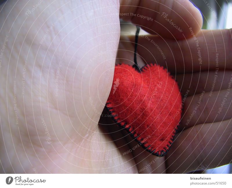 Hand Red Love Heart Fingers Cloth To hold on Grasp Felt Ball of the hand