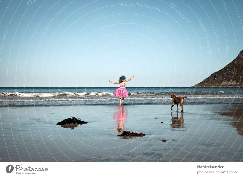Dog Human being Woman Vacation & Travel Summer Ocean Joy Beach Adults Mountain Life Feminine Freedom Jump Dance Happiness