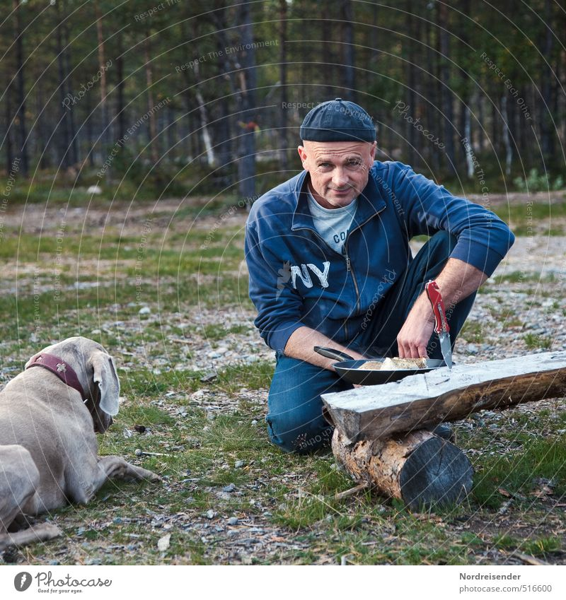 Dog Human being Nature Vacation & Travel Man Animal Forest Adults Freedom Eating Contentment Lifestyle 45 - 60 years Fresh Nutrition Simple
